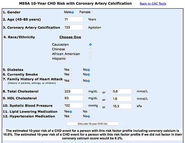Calculator: CHD risk