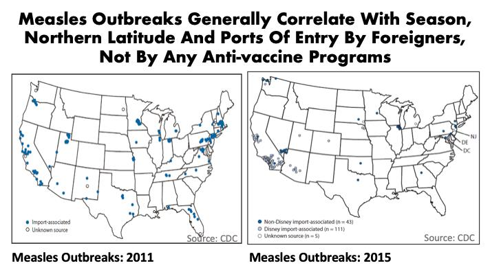 Maps: Measles outbreaks 2011 vs 2015