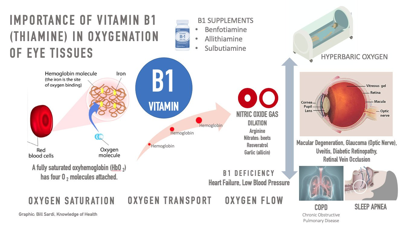 Chart: importance of vitamin B1 in oxigenation of eye tissue