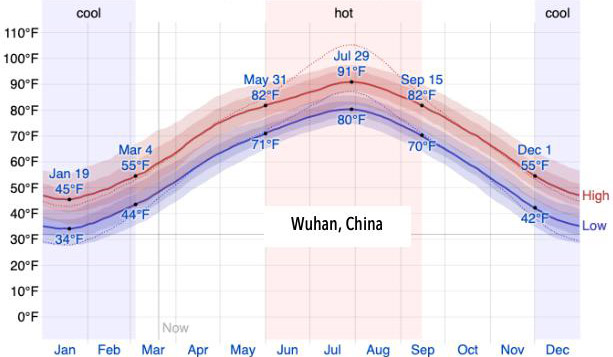 Chart: Average High/Low Temperature - Wuhan