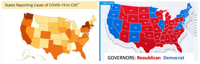 Maps: corona cases vs political parties