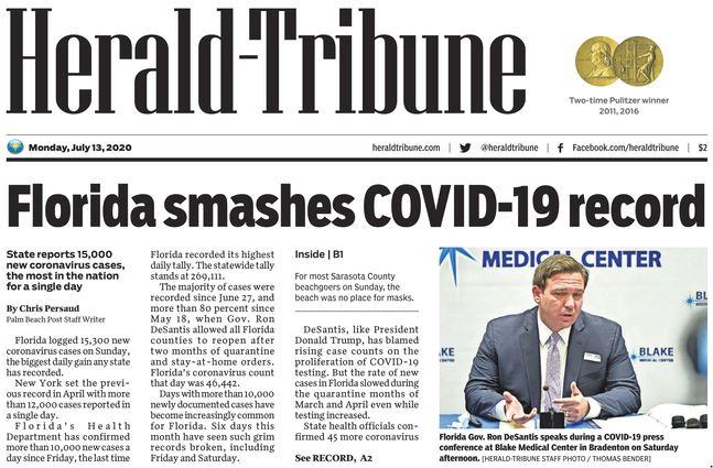 Newspaper: Florida Smashes COVID-19 record